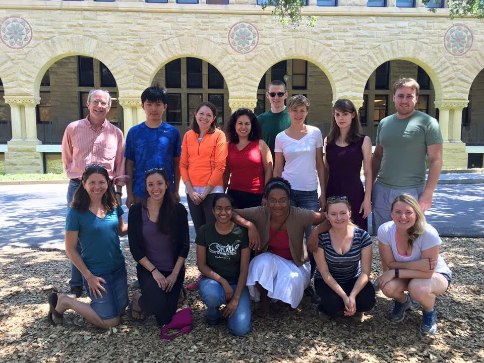 Mary Carter, second-year veterinary student (bottom right), poses with her research team, including Drs. John Boothroyd and Sarah Ewald, at Stanford University in August 2015.