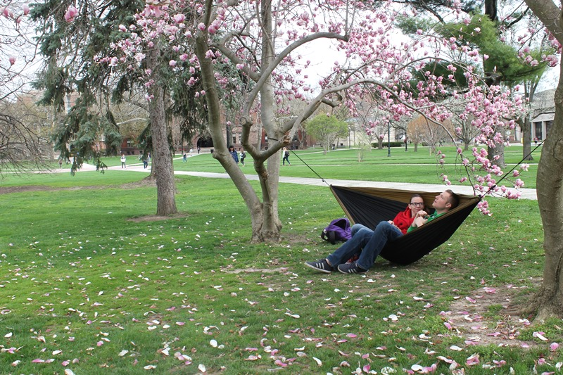 OSU student in molecular genetics, Alissa Cullen, sits on a hammock with non-OSU student Benjamin Gannaway April 15, 2015 on Oval Beach .