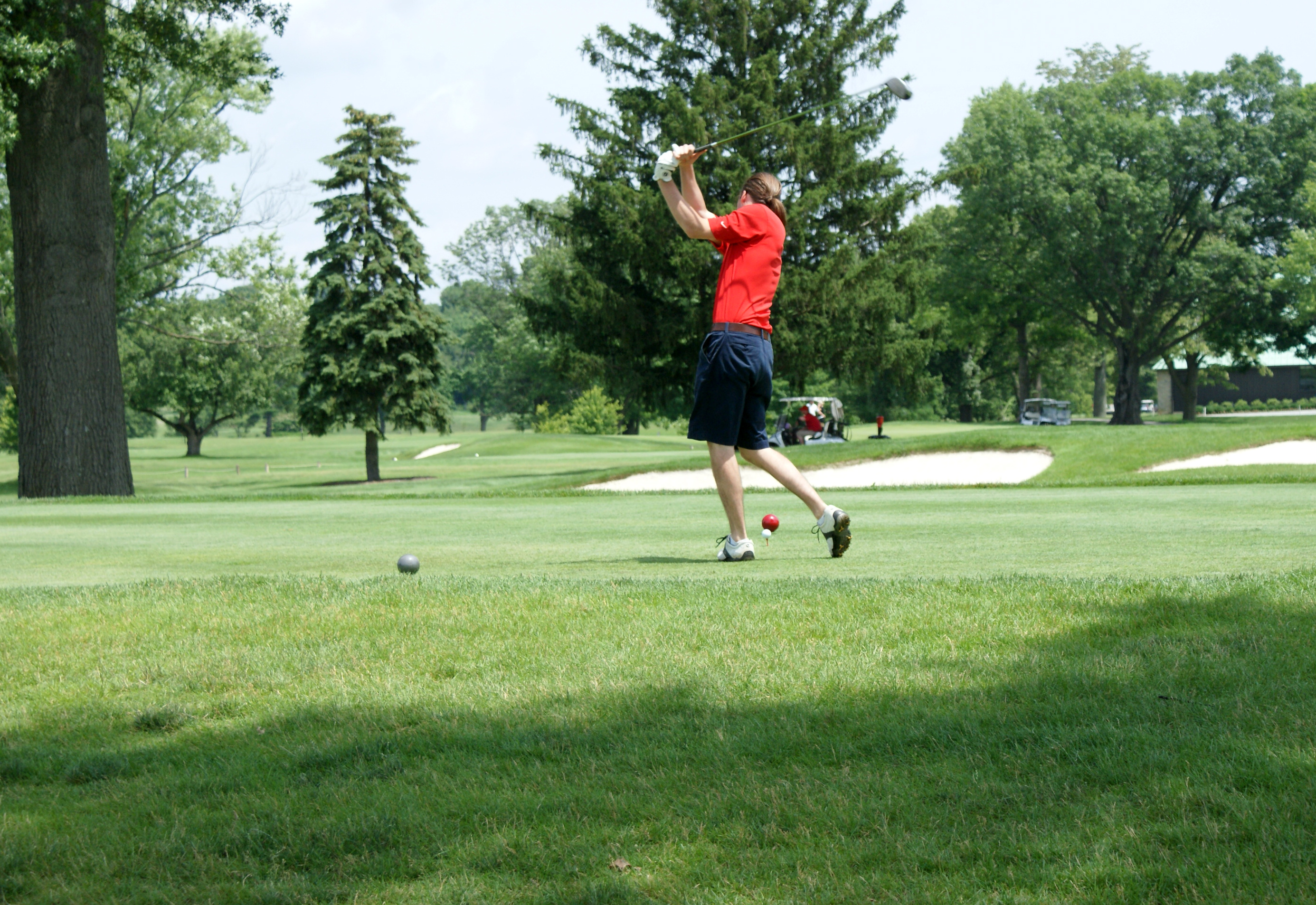 An alumnus of The Ohio State College of Veterinary Medicine takes a practice swing on June 22, 2015 at The Ohio State University Golf Club's Scarlet Course. Each year, members of Ohio State's College of Veterinary Medicine's Alumni Society hold an annual golf outing.