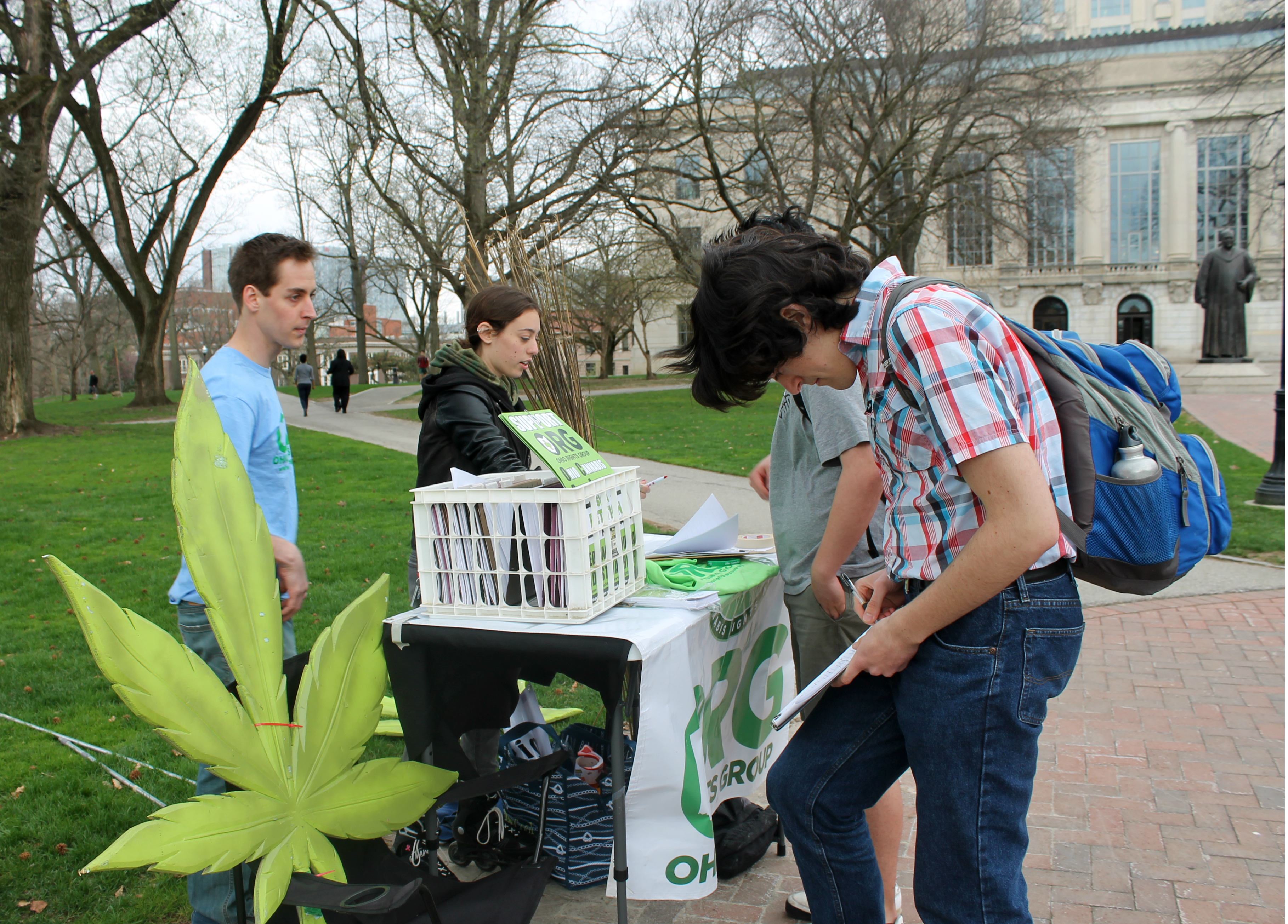 Student activists Nick Neely and Robin Iritz run a booth for the Ohio Rights Group - OSU Chapter on April 14, 2015 at The Ohio State University in Columbus, Ohio. At the booth, registered voters could sign a petition to legalize the use of medical and recreational marijuana in Ohio.