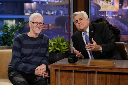 Dave Berg (left) sits at the desk with Jay Leno on 'The Tonight Show with Jay Leno.' Credit: Courtesy of Mary Berg