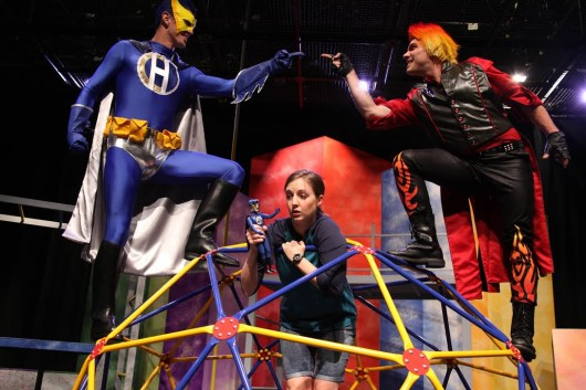 Upper left, clockwise: Aaron Lopez as Captain H, Patrick Wiabel as Red and Sarah Ware as Callie in a scene from 'In Here Out There.' Credit: Courtesy of Lesley Ferris