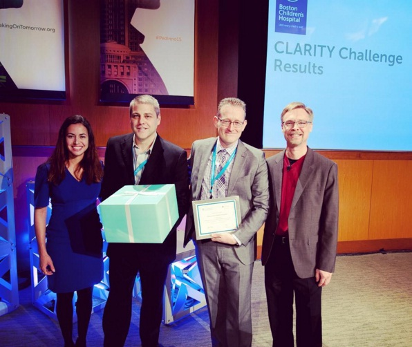 From left: Catherine Brownstein, the Director of the Molecular Genomics Core Facility at Boston Children's Hospital; Donald Corsmeier, postdoctoral research scientist at Nationwide Children's Biomedical Genomics Core; Dr. Peter White, director of Nationwide Children's Biomedical Genomics Core; Alan Beggs, director of The Manton Center for Orphan Disease Research at Boston Children's Hospital.