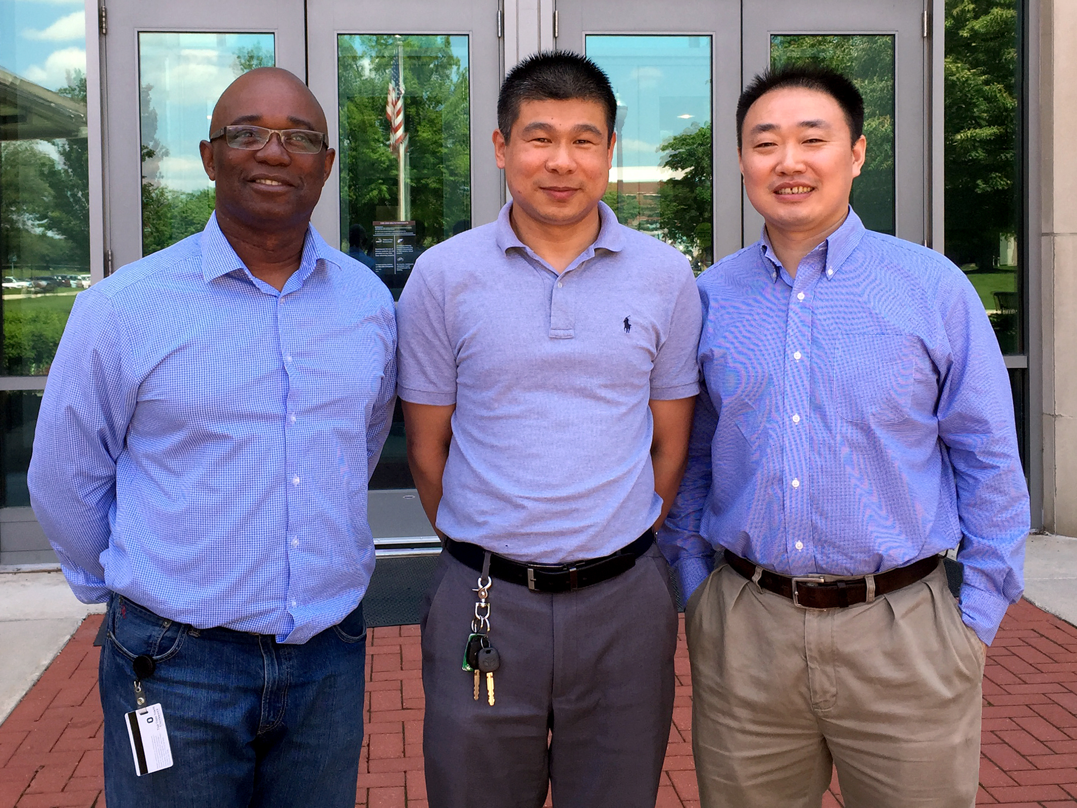 From left: Dr. Prosper Boyaka, professor of veterinary biosciences at The Ohio State University, Dr. Jianrong Li, associate professor of veterinary biosciences at The Ohio State University, and Dr. Xiaoming He, associate professor at Ohio State's College of Engineering.