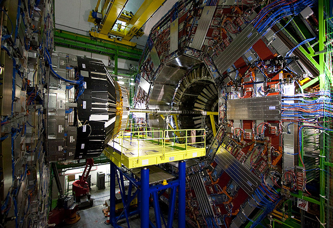 The Compact Muon Solenoid (CMS), a particle detector built in an underground cavern in Cessy, France, on top of the Large Hadron Collider.